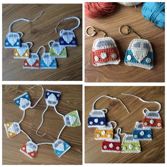 Pdf Pattern for Crochet Campervan Keyring and by FloAndDotShop