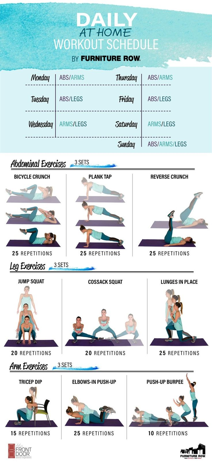 Fulfill your 2017 new year's resolution with easy at-home workouts for your abs, arms, and legs. Start getting toned with our work out from home schedule!