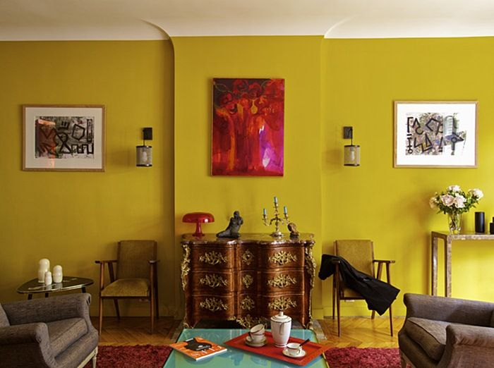 35 best Mustard wall paint ideas images on Pinterest | Living room ...