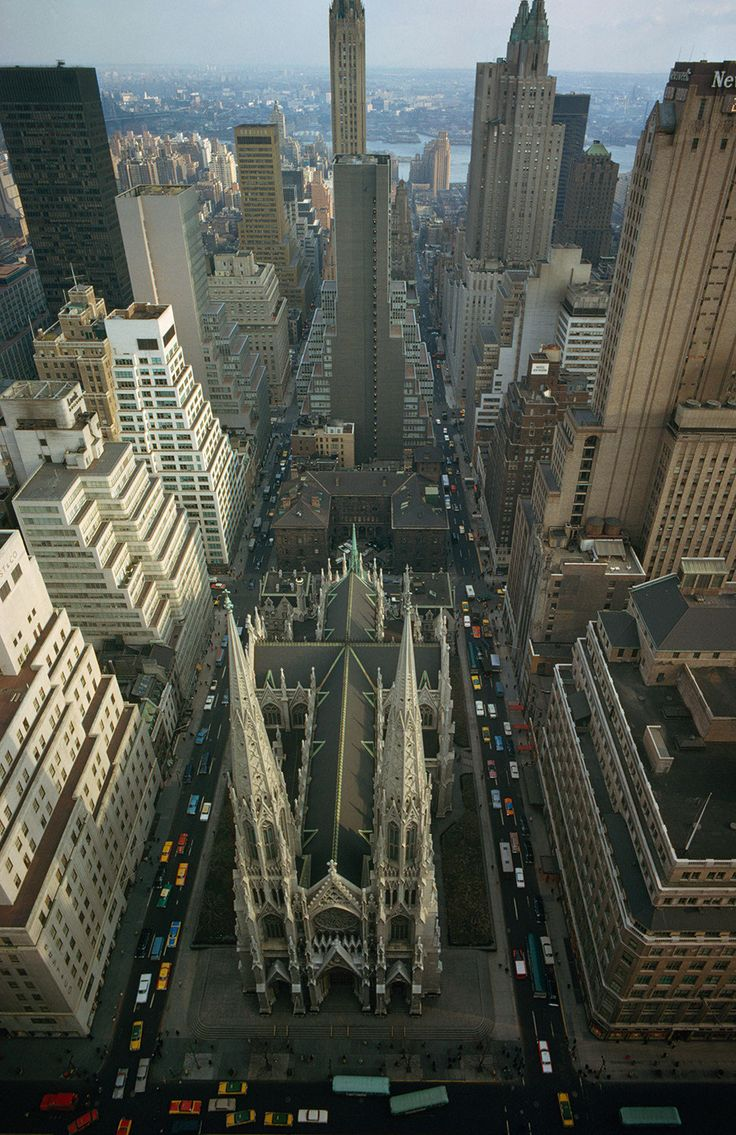 NYC. St Patrick's Cathedral, from the air, looking East