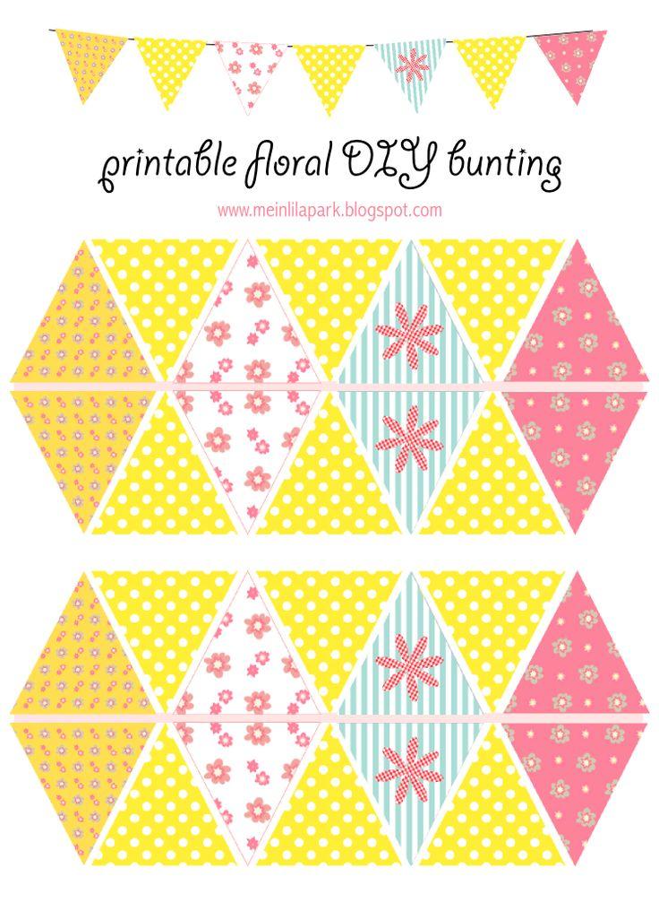 FREE printable flower and polka dot patterned DIY spring bunting ^^