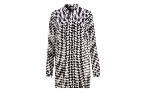 "Monochrome Dogtooth Shirt. ""Go mad for monochrome in this long line dogtooth shirt."""