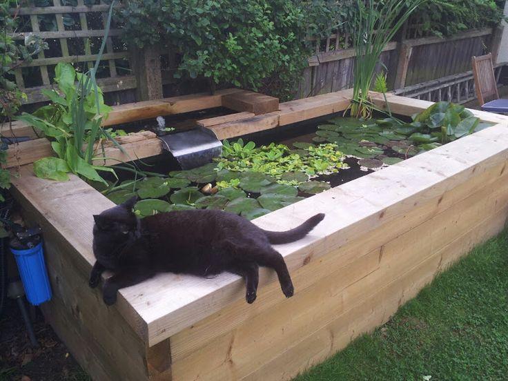 7 best railway sleeper raised fish pond images on for Building a raised koi pond