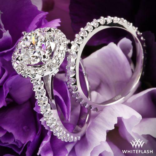 "Platinum ""Amphora"" Diamond Engagement Ring and Diamond Wedding Ring"