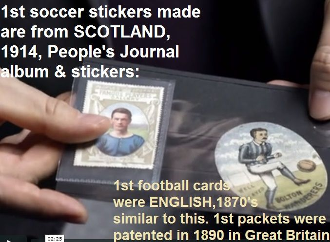 first ever soccer stickers, first ever football cards, first ever football cards packets - all British inventions 1870's thru to 1914... many, many years before Panini (1960)