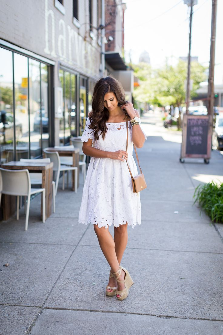white off the shoulder dress, little white dress, white crochet dress, nude espadrille wedges,  summer outfit ideas // @asoutherndrawl