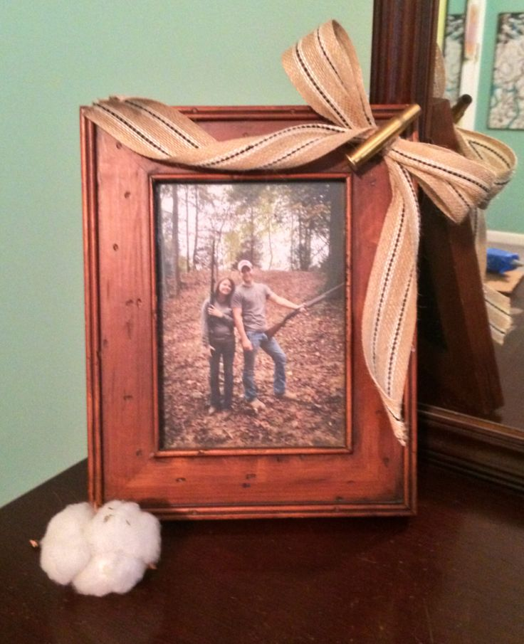 Country, boyfriend gift! Bullet that we shot, burlap ribbon and a frame