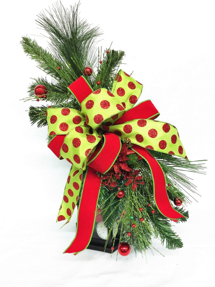 Christmas Lantern Swag, Holiday Swag, Christmas Tree Topper, Christmas Centerpiece, Polka Dot Centerpiece, Red/Green Holiday Centerpiece by aDOORableDecoDecor on Etsy