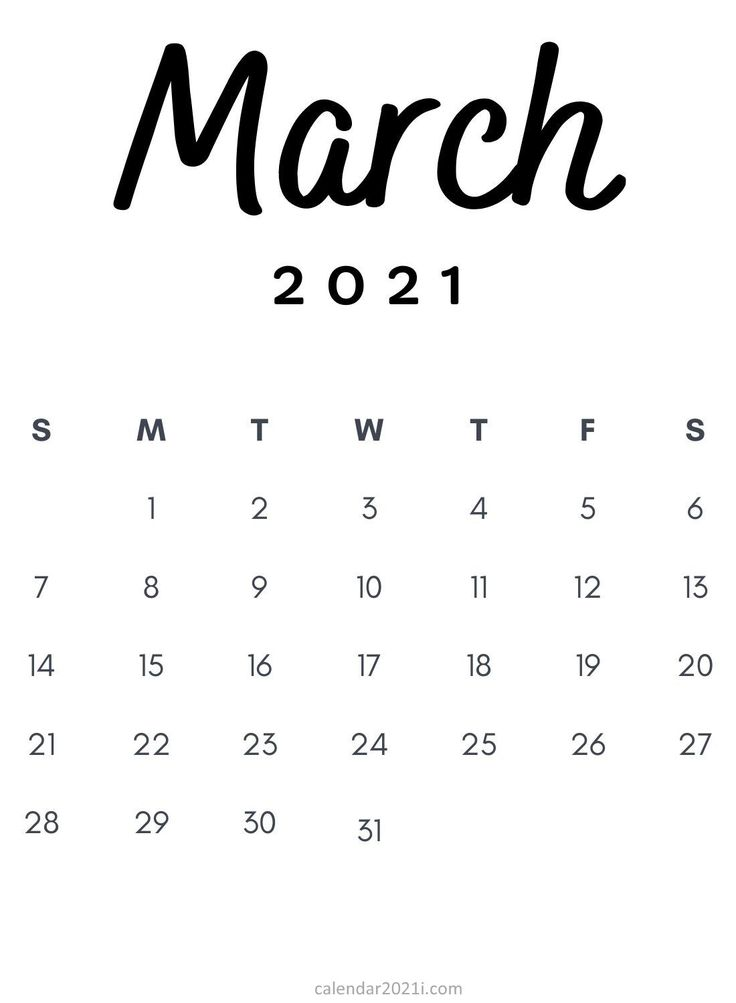 March 2021 Minimalist Printable Calendar template in 2020  Monthly calendar printable, 2021