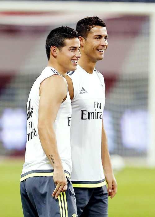 albertosmoreno:James Rodriguez and Cristiano Ronaldo during Real Madrid football team's training session in Shanghai, China  on 29 Jul 2015