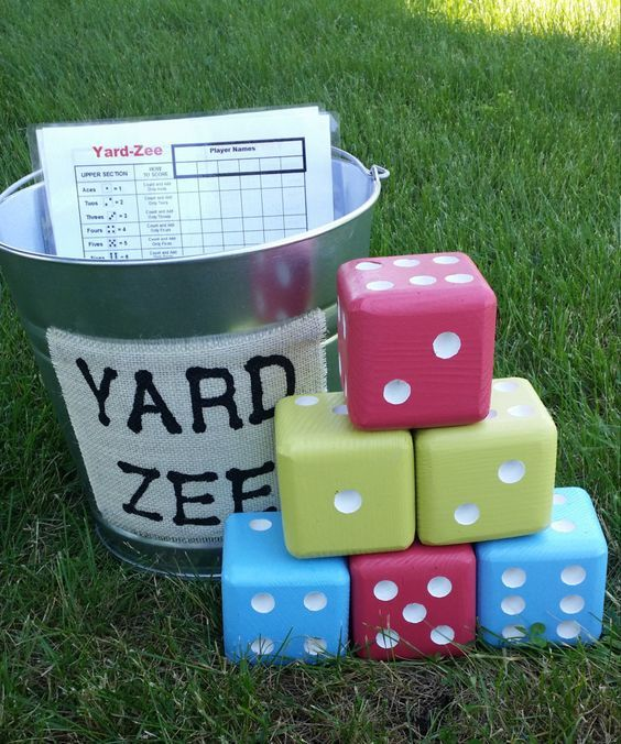 Yard-Zee, Giant Yard Dice Yahtzee Game, Farkle Dice Game, Six handmade wooden dice with galvanized steel pail, Wedding, House Warming Gift by AllAroundWood2 on Etsy