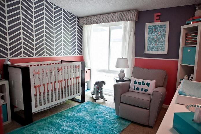 Adore this herringbone accent wall in this gray mod nursery!