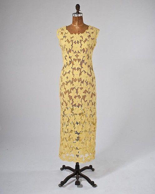 1960s Irish linen cut-out lace dress, $404.69 from #missfarfalla #Etsy