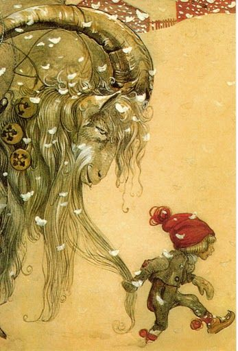 Yule goat and elf, John Bauer.