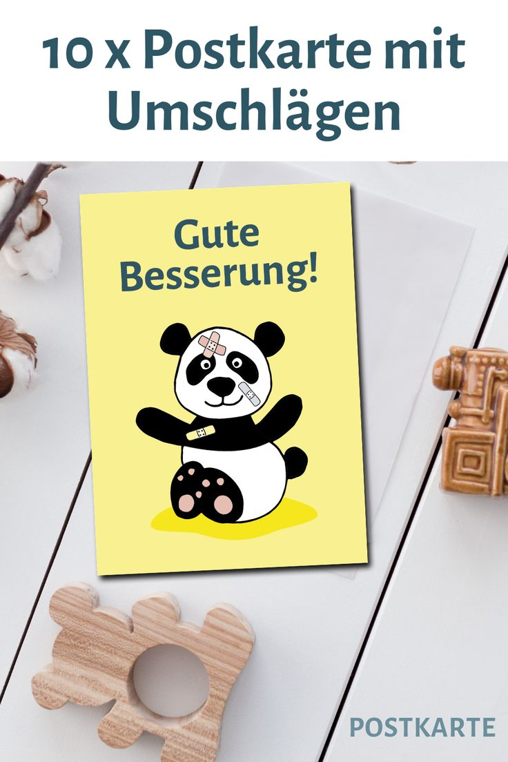 """Set mit 10 Postkarten mit Panda """"Gute Besserung"""" mit passenden Umschlägen. Vielen Dank…   – Mamadoc Shop – Geschenke für Mamas, Schwangere, Babys und Kinder +Fotoideen"""