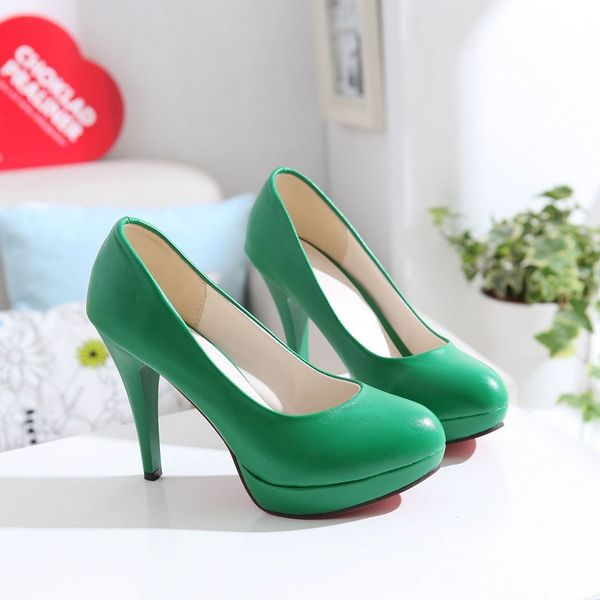 22.13$  Watch here - http://alig2i.shopchina.info/go.php?t=838054482 - High heels shoes platform women's nude color round toe single shoes yellow black female autumn shoes  #magazineonlinewebsite