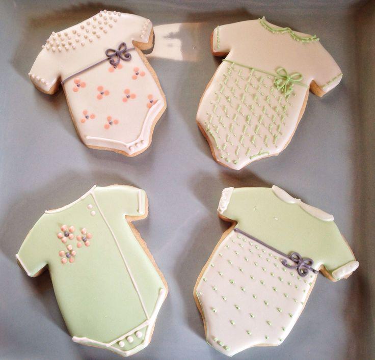 Onesie Mint Green Peach And Ivory Baby Cookies CookiesBaby Shower CookiesSugar CookiesGluten Free