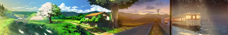Anime Wallpaper 7680x1200 Anime Landscape by OLTDelete on DeviantArt