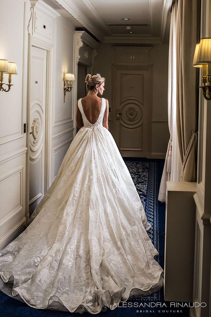 alessandra rinaudo 2017 bridal sleeveless deep v neck full embellishment pretty princess a  line ball gown wedding dress low v back chapel train (bridget) bv