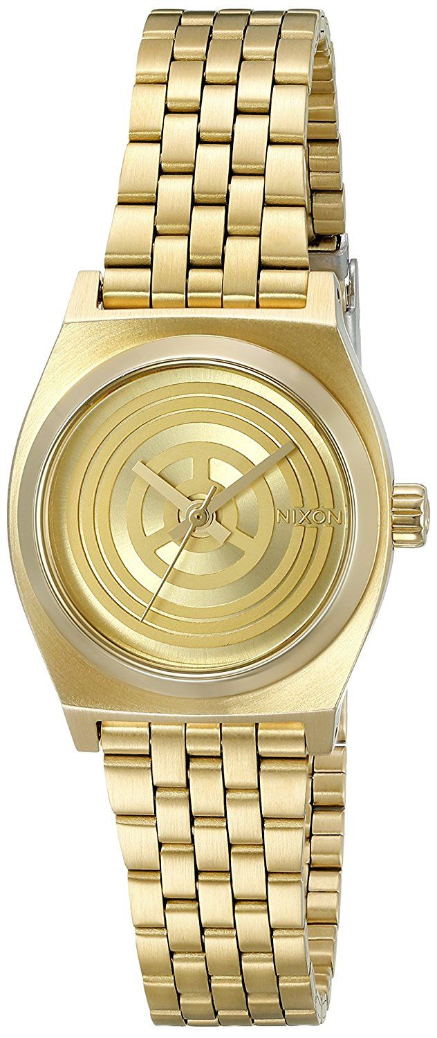 Nixon Women's A399SW-2378-00 Small Time Teller SW, C-3PO Gold' Quartz Stainless Steel Casual Watch *** Click image for more details.