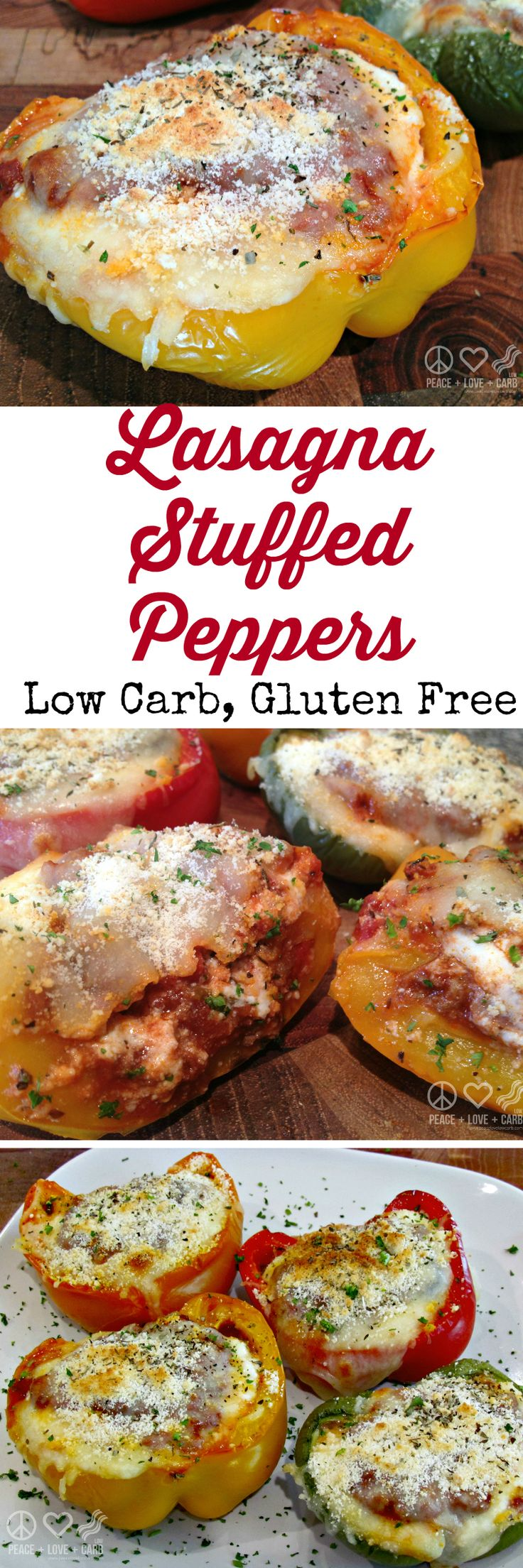 Lasagna Stuffed Peppers #lowcarb