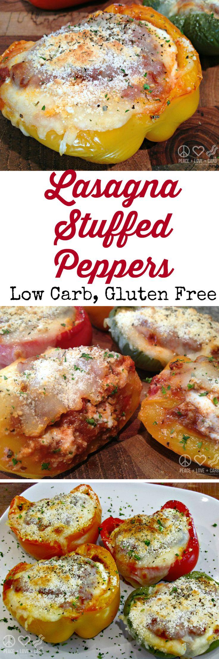 Lasagna Stuffed Peppers #lowcarb