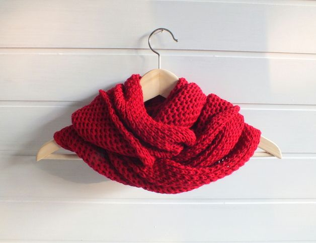 Great gift for those who love red and don't like winter. Knitted – Red hand knitted infinity loop scarf – a unique product by AnkaAndMaia via en.DaWanda.com