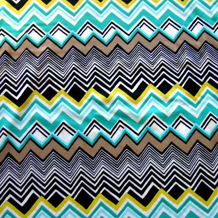 Sea Green, Chartruese, and Black Chevrons Nylon Lycra Swimsuit Fabric