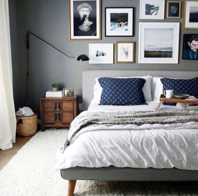 Decoração Quarto: cor parede + composição quadros + tapete