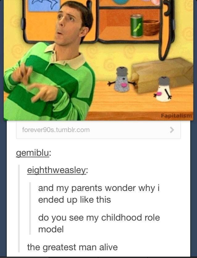 #isitweird Is it weird that I still watch Blues Clues when it is on the tv? I can't help this was my favorite childhood show. :3