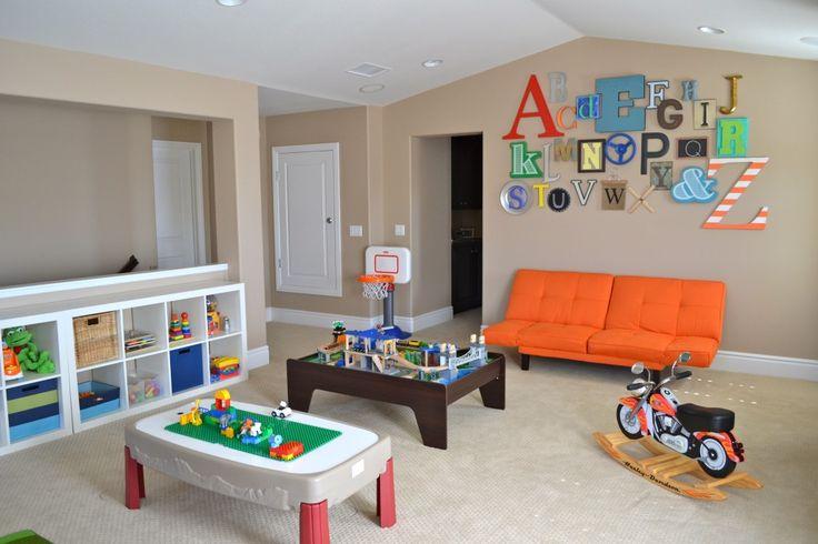 This playroom just screams fun! #playroomDecor, Diy Ideas, Playrooms Ideas, Kid Playroom, Kids Playrooms, Alphabet Wall, Kids Room, Plays Room, Playroom Ideas