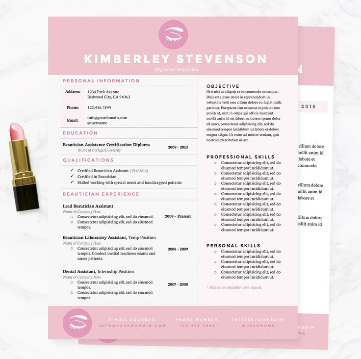 Tone Resume Template + Cover Letter Cool resumes, Beautiful and - beautician resume template