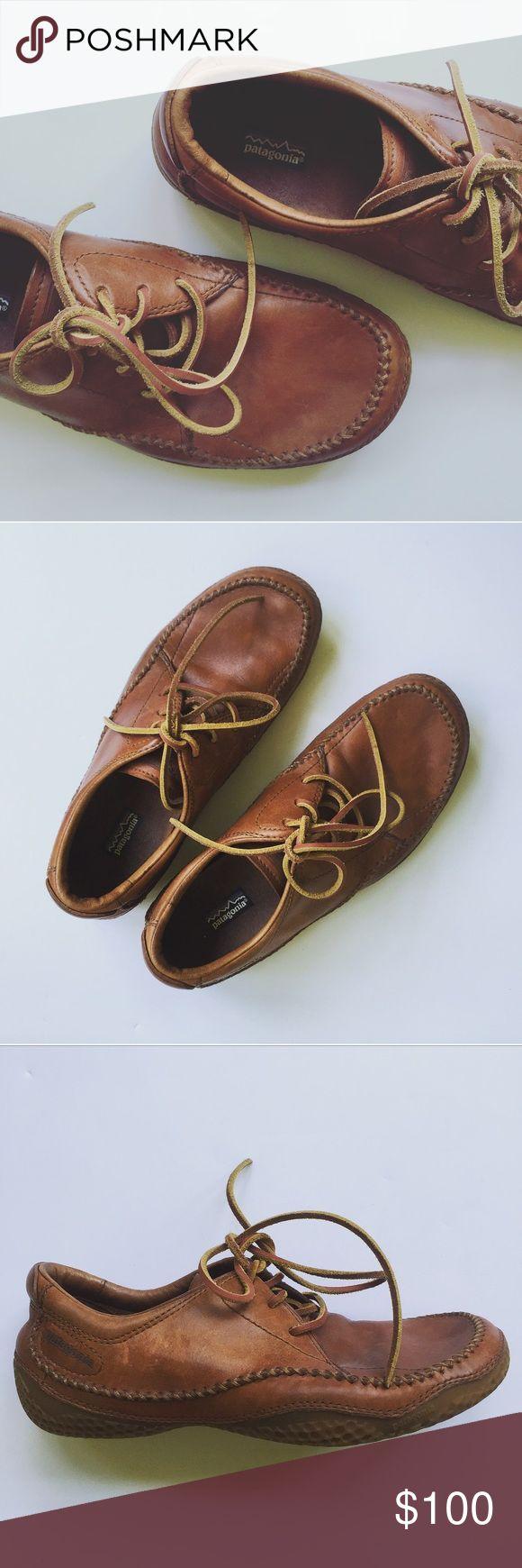 Patagonia leather Skywalk shoes Beautiful Vintage pair of leather Patagonia Skywalk shoes in cedar brown. Super rare, such a quality shoe. In excellent condition. Very little wear. US size 9, Eur 42. No trades! Patagonia Shoes