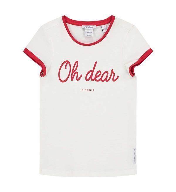 Nik and Nik t-shirt Nina. Dit shirt heeft een rood biesje en een tekst print op de voorzijde.     Nieuwsgierig naar de rest van de collectie Nik  & Nik meisjeskleding? Kijk direct in onze online shop  https://www.nummerzestien.eu/nik-and-nik/meisjes/
