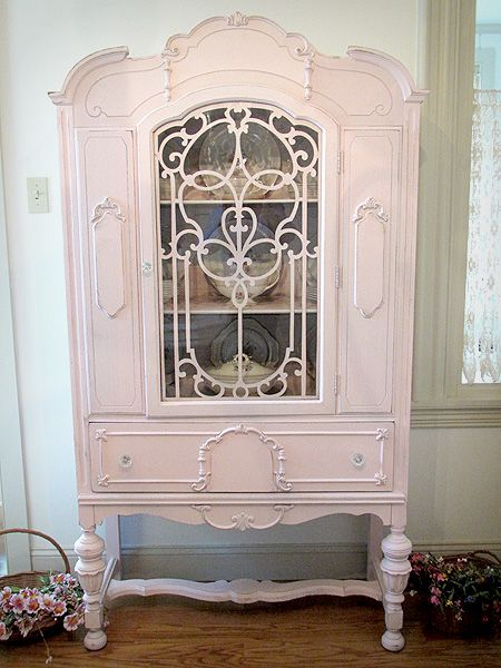So Shabby Chic Hope The Hubby Doesnt Mind Pink In Our Dining Room China Cabinet PaintedAntique