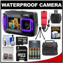 Cheap Coleman Duo 2V9WP Dual Screen Shock & Waterproof Digital Camera (Purple) with 32GB Card  Batteries & Charger  Case  Float Strap  Kit Sale