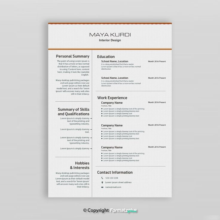 Interior Designer Resume  This interior designer resume can be used according to your profile. You can use it as a draft or a template to reflect your background and tailor it for the interior designer position.  You can download, edit, add sections or delete any sections as per your needs in Microsoft Word.  An easy to follow guide to help you save time to edit the resume template allowing you get more focused on content writing.