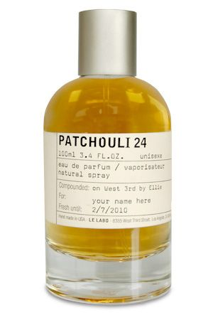 Le Labo- Patchouli 24-Instead of smelling like the patchouli we know, it is intensely leathery and smoky, like a worn leather jacket laid over a hot motorcycle engine. Counterbalanced against these notes is a creamy, custard-like vanilla. (Patchouli, birch tar, styrax, and vanilla)