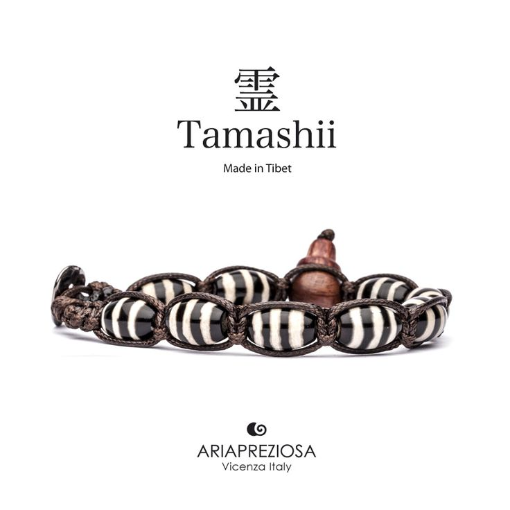 """Tamashii - Serie Speciale BkraShi realizzato con pietre naturali Onice con disegno tradizionale a mano dal significato """"SAGGEZZA"""""""