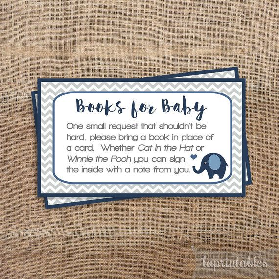 Navy Elephant Baby Shower Book Request, Printable Navy & Grey Chevron Invite Insert, Baby Boy, Books for Baby, INSTANT DOWNLOAD