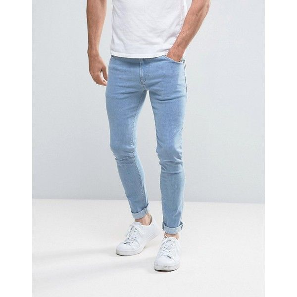 ASOS Super Skinny Jeans In Bleach Wash ($42) ❤ liked on Polyvore featuring men's fashion, men's clothing, men's jeans, blue, mens skinny jeans, mens blue jeans, mens skinny fit jeans, mens tall jeans and mens bleached jeans