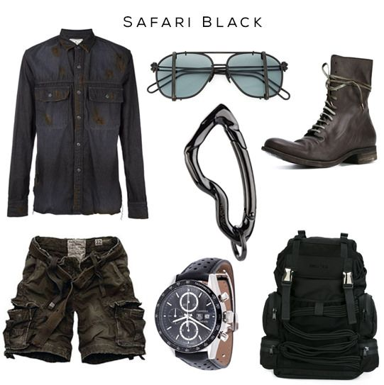 #Safari #Black Clockwise: #shirt by Miharayasuhiro, #Sunglasses by WERKSTATT:MÜNCHEN,  #Carabiner #Keychain by SVØRN, #Boots by A Diciannoveventitre, #Backpack by DSQUARED2, #Watch by TAG HEUER, Short pants by A&F //  #style #mensstyle #mensfashion #menswear #streetwear #luxury #luxurystreetwear