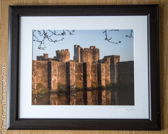 Front of Caerphilly Castle at Dawn