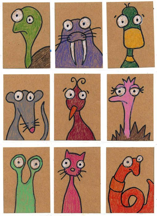 Fun and simple animal heads to draw on Art Trading Card.