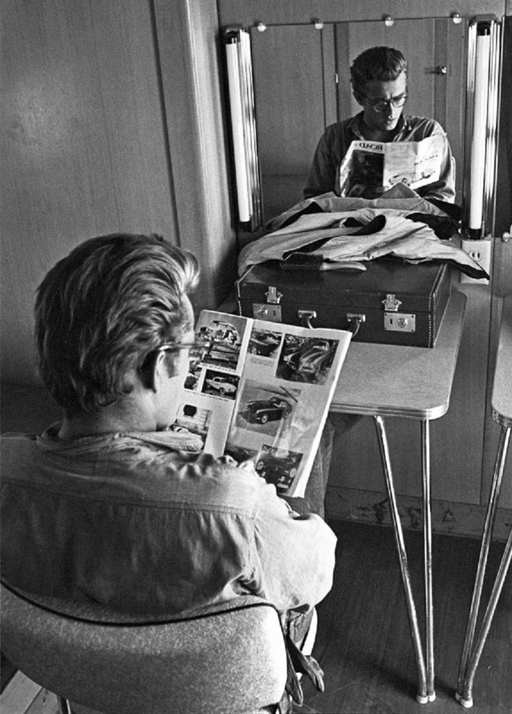 James Dean - reading ; by the Mirror
