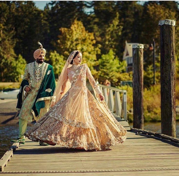 Indian Bride & Groom   Stunning Peach & Gold Bridal Dress   Beautiful Capture