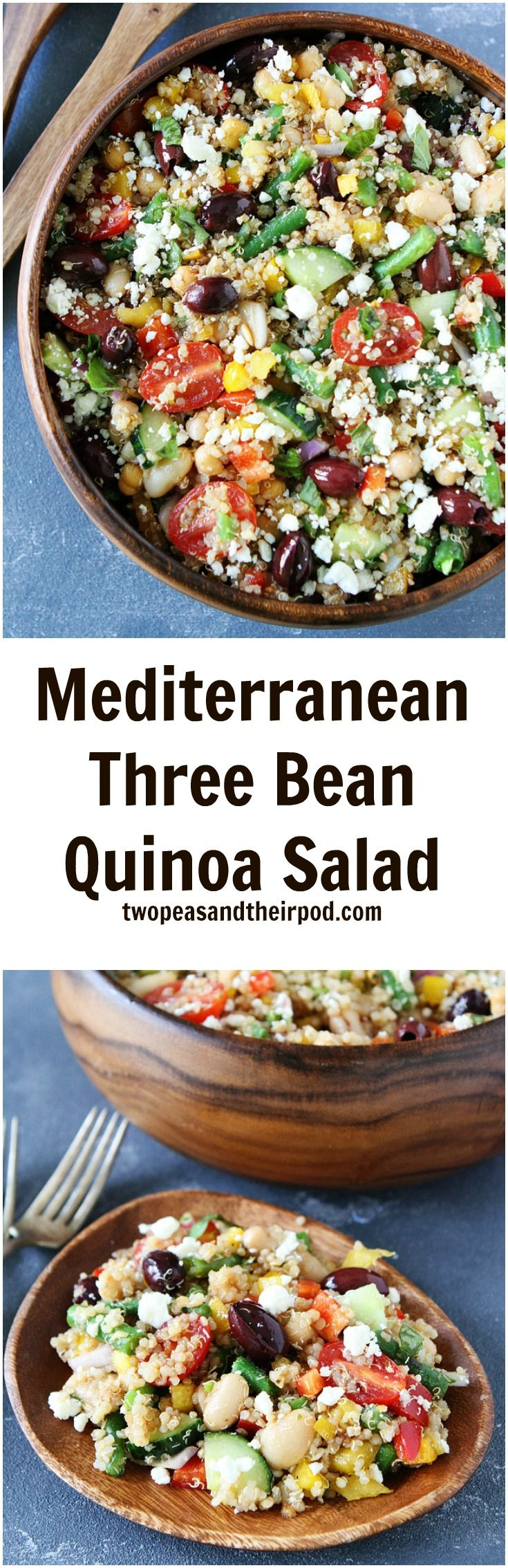 Mediterranean Three Bean Quinoa Salad Recipe on twopeasandtheirpod.com This healthy salad makes a great side dish or main dish. It is perfect for parties and potlucks!