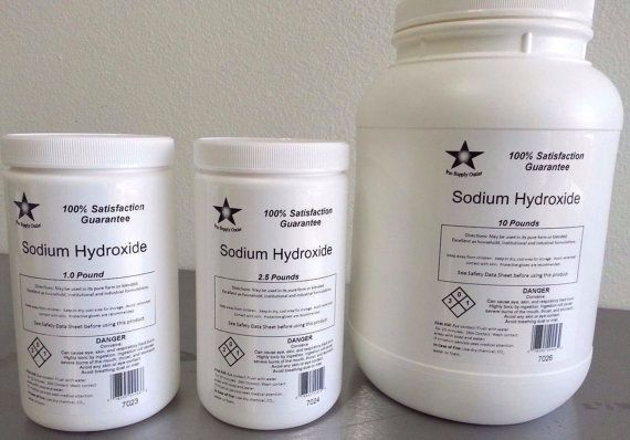 Sodium Hydroxide (Caustic Soda, Lye) Beads FCC/ Food Grade Choose Your Size (Due to this being a hazardous chemical, this item will be shipped ground)  - 100% Satisfaction guaranteed!! - High quality material professionally packed in resealable gloss bags to ensure safe delivery! * Questions? Call us toll free at 855-248-9059   DESCRIPTION:  Sodium hydroxide (NaOH), also known as lye and caustic soda, is an inorganic compound. It is a white solid and highly caustic metallic base and alka...