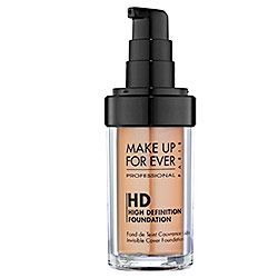 Make Up For Ever HD Invisible Cover Foundation. My favorite foundation EVER. It's pricey, but a little goes a very long way, and it really does give you an airbrushed look (when you put it on with a brush, I never use sponges or my fingers, so Idk about them). And it comes in 25 shades, so you can definitely a perfect match for your skin. SO, SO GOOD. $40 #makeup #foundation #beauty