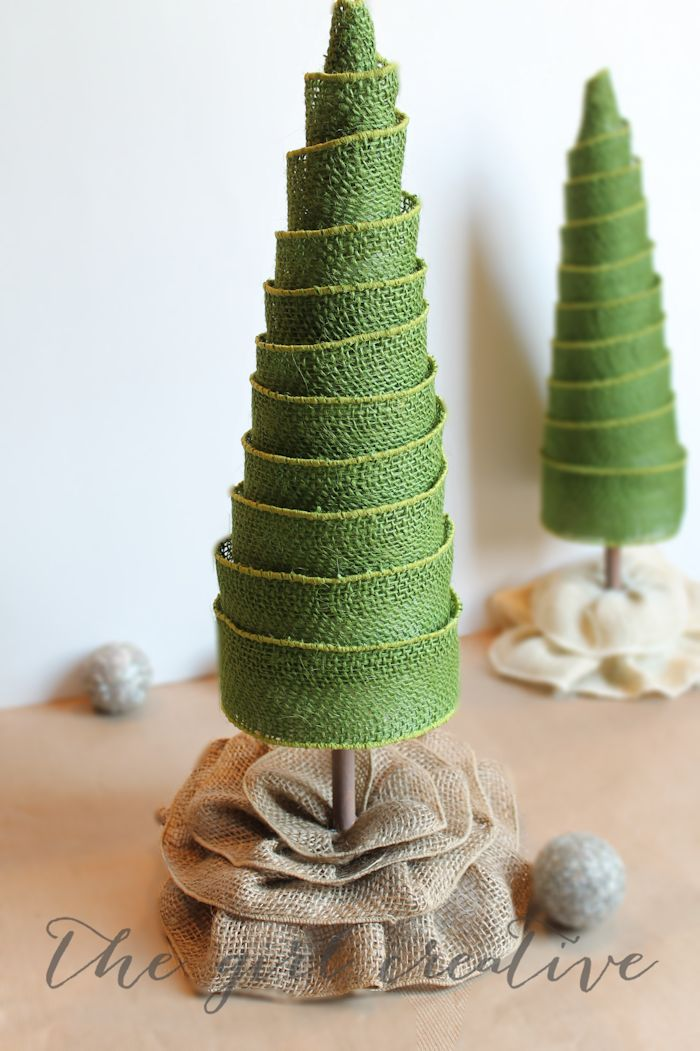 Adorable burlap ribbon trees made from a poster board cone, burlap wired ribbon and foam blocks from Flora Craft.